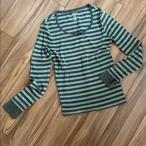 Faded Glory Sage Striped Thermal